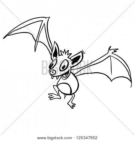 black and white bat cartoon