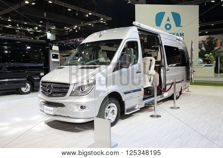 BANGKOK - MARCH 22: Mercedes Benz car Airstream on display at The 37 th Thailand Bangkok International Motor Show on March 22 2016 in Bangkok Thailand.