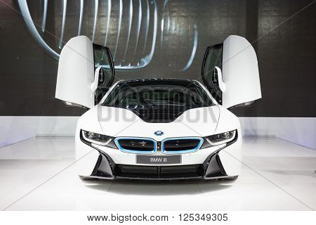 BANGKOK - MARCH 22: Image zoom of BMW i8 car on display at The 37 th Thailand Bangkok International Motor Show on March 22 2016 in Bangkok Thailand.