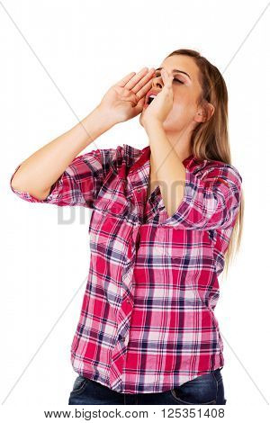 Woman yelling using her hands as megaphone