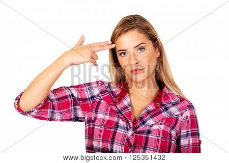 Young woman committing suicide with fingers gun