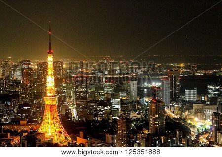 TOKYO - SEPTEMBER 9: Landscape Tokyo Tower night view on September 9, 2011 at Roppongi Hills observation deck TOKYO CITY VIEW in Tokyo, Japan.
