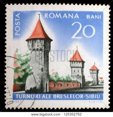 ZAGREB, CROATIA - JULY 19: a stamp printed in Romania shows Sibiu City wall, Historical monuments, circa 1967, on July 19, 2012, Zagreb, Croatia