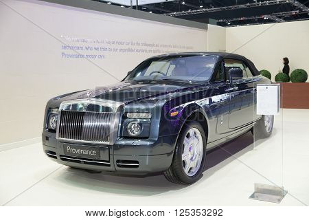 BANGKOK - MARCH 22: Roll Royce Provenance car on display at The 37 th Thailand Bangkok International Motor Show on March 22 2016 in Bangkok Thailand.