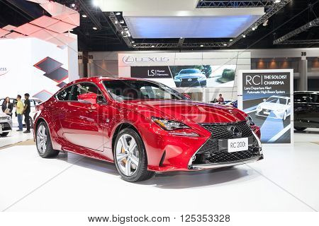 BANGKOK - MARCH 22: Lexus RC 200t car on display at The 37 th Thailand Bangkok International Motor Show on March 22 2016 in Bangkok Thailand.