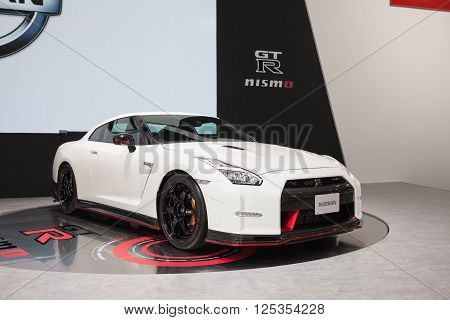 BANGKOK - MARCH 22:Zoom image of Nissan GTR car on display at The 37 th Thailand Bangkok International Motor Show on March 22 2016 in Bangkok Thailand.