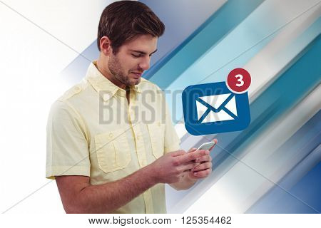 young man with phone against blue and white tile design