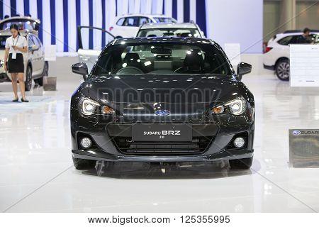 BANGKOK - MARCH 22: Subaru BRZ 2.0 car on display at The 37 th Thailand Bangkok International Motor Show on March 22 2016 in Bangkok Thailand.