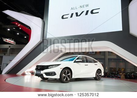 BANGKOK - MARCH 22: Honda civic car on display at The 37 th Thailand Bangkok International Motor Show on March 22 2016 in Bangkok Thailand.