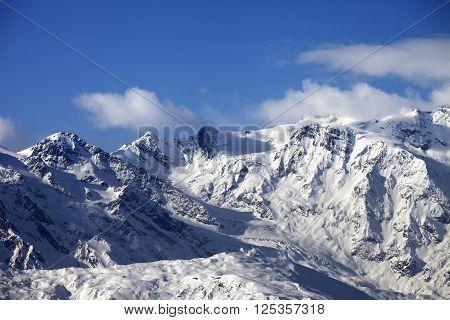 Snowy mountains and glacier at sunny day. Caucasus Mountains. Svaneti region of Georgia.