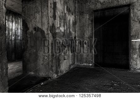 Abandoned building ghost living place with two doors darkness horror and halloween background concept