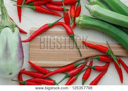Eggplant or aubergine, chili, ladies' finger and one wooden spatula arranged carefully and beautifully on textured background. View from above. Flat lay. Background.