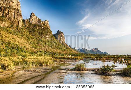 Beautiful landscape with blue sky at Khao Sam Roi Yot National Park Prachuap khiri khan Thailand