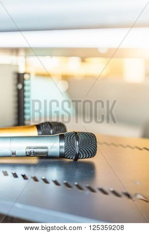 closeup view of microphone,still life.