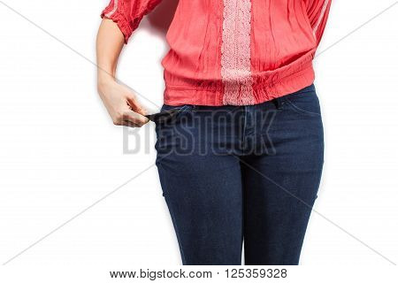 Young woman with no money on a white background