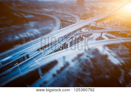 aerial view of overpass in shanghai