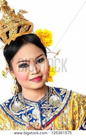 "Thailand Dancing Art ""khon"" That High Class Of Dance In Siam Bangkok Thailand. Studio Female Dancing"