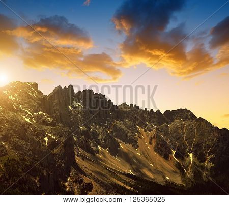Mountain Latemar at sunset in Dolomites, Italy