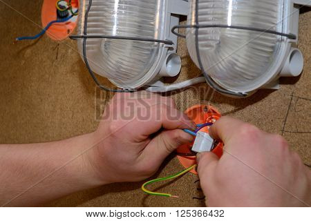 Electrical Installations of a skilled worker - closeup