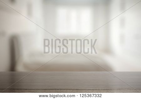wooden table in the bedroom