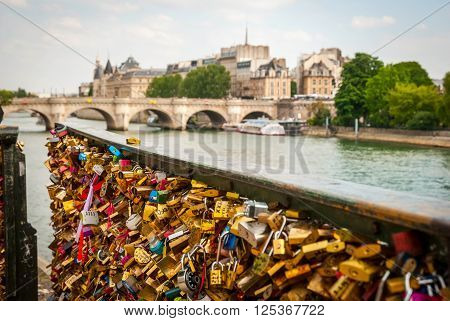 Padlocks In Front Of Pont De Arts Bridge, Paris