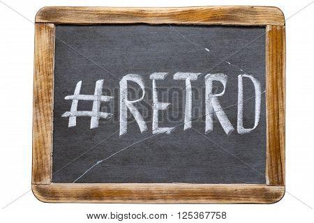 retro hashtag handwritten on vintage school slate board isolated on white