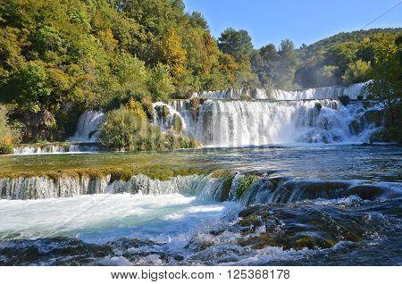 Beautiful Waterfall On Plitvice Lake