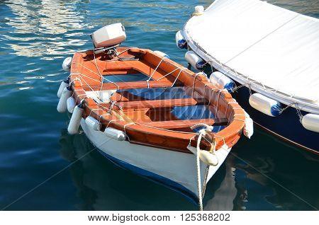 Motorboat in jetty over harbor pier Croatia Europe