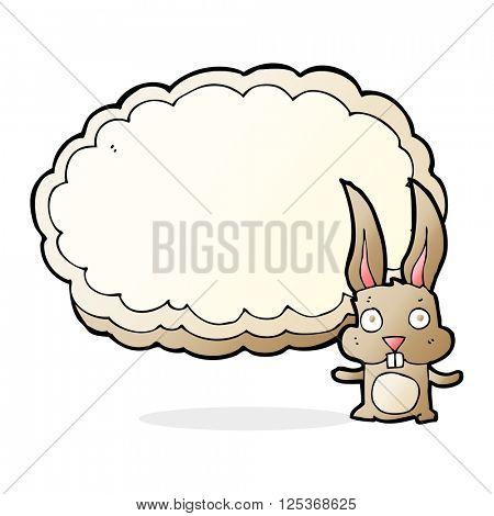 cartoon rabbit with text space cloud
