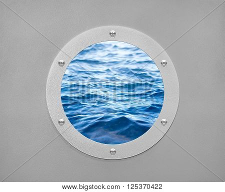 Round porthole sea ship and sea wave