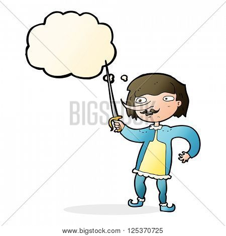 cartoon man with sword with thought bubble