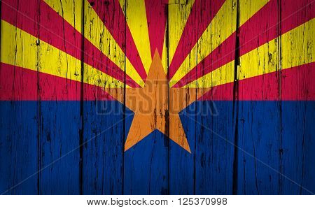 Arizona state grunge wood background with Arizonan flag painted on aged wooden wall.