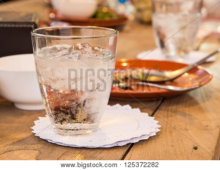 Glass water Coaster White on wooden table.