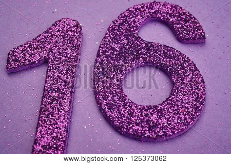 Number sixteen purple color over a purple background. Anniversary. Horizontal