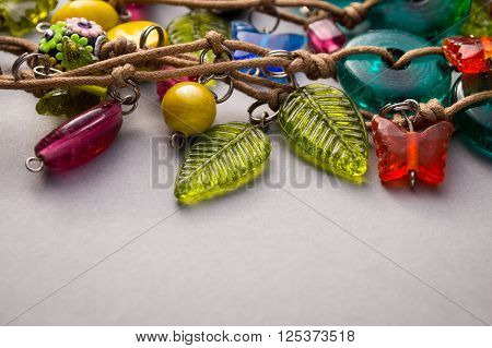 Colorful Assortment Of Glass And Wood Beads