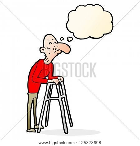 cartoon old man with walking frame with thought bubble