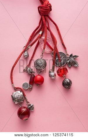 Necklace Made With Red Leather And Silver Charms