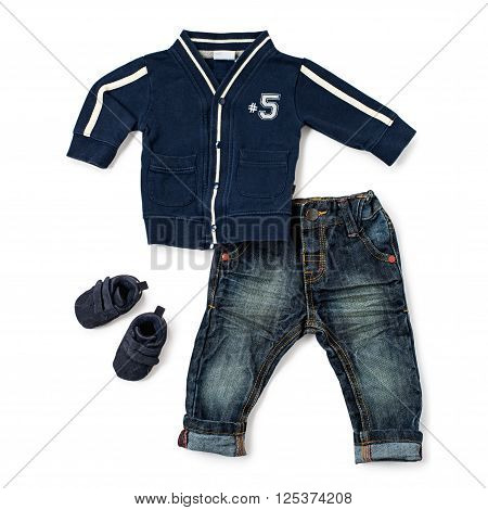 Stylish Casual Outfit For Male Toddler On White