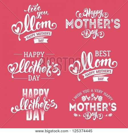 Mothers Day Lettering Calligraphic Emblems and Badges Set. Isolated on Pink. Happy Mothers Day, Best Mom, Love You Mom Inscription. Vector Design Elements For Greeting Card and Other Print Templates