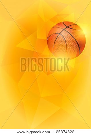 Vertical Background on Basketball Theme with Flying Basketball Ball on Unusual Triangular Background. Realistic Editable Vector Illustration.