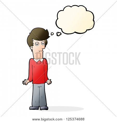 cartoon bored man shrugging shoulders with thought bubble