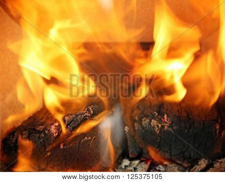 Burning Flames In The Fireplace Close Up