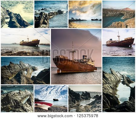 rocky coast and abandoned ships in Lanzarote