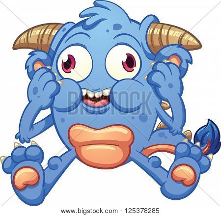 Cute cartoon monster. Vector clip art illustration with simple gradients. All in a single layer.