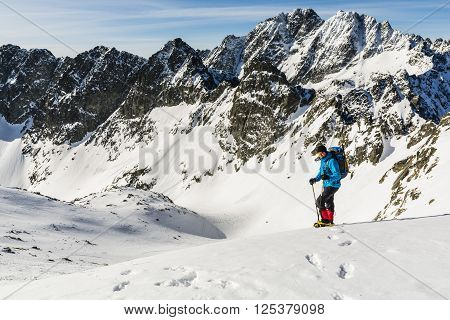 Mountaineer Against The Colossus Of The Tatra.