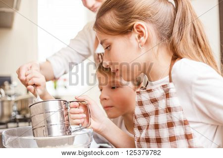Family Cooking Background. Children In The Kitchen