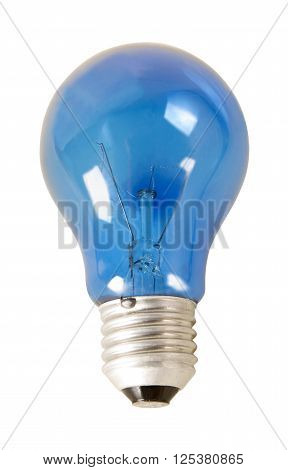 light bulb with the blue glass and absence bulbs. Isolated on white background and objects with clipping paths.