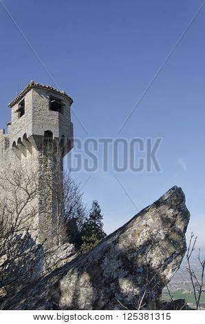 The La Cesta tower of Mount Titan in San Marino