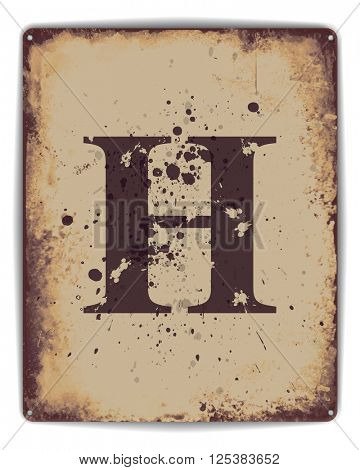 Retro tin plate style poster with capital letter H monogram.