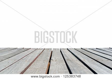 Old wooden walkway isolated on white background.